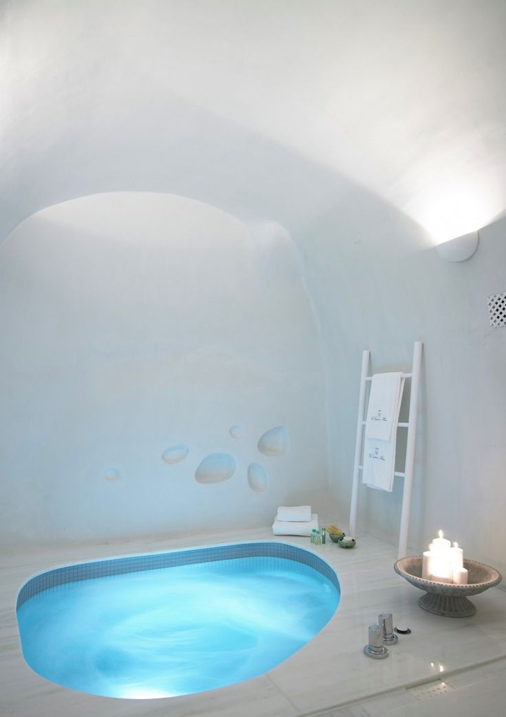 bathroom doesn't always come in square - Cave Suite - a lovely boutique Hotel in Santorini - http://freshome.com/distinctive-traditional-design-unveiled-by-boutique-hotel-santorini/