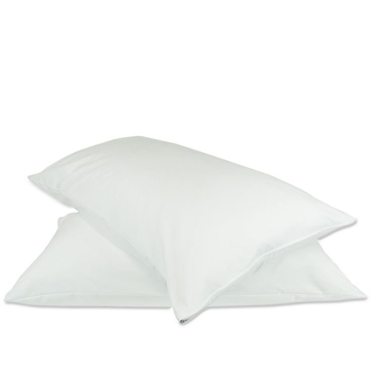 Luxury Hotel Collection Plain Pillow Protectors - Zipper - Queen Size - White - Set of 2