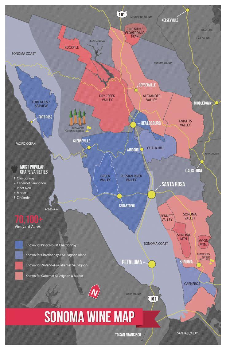 USA California North Coast Wine Map 80