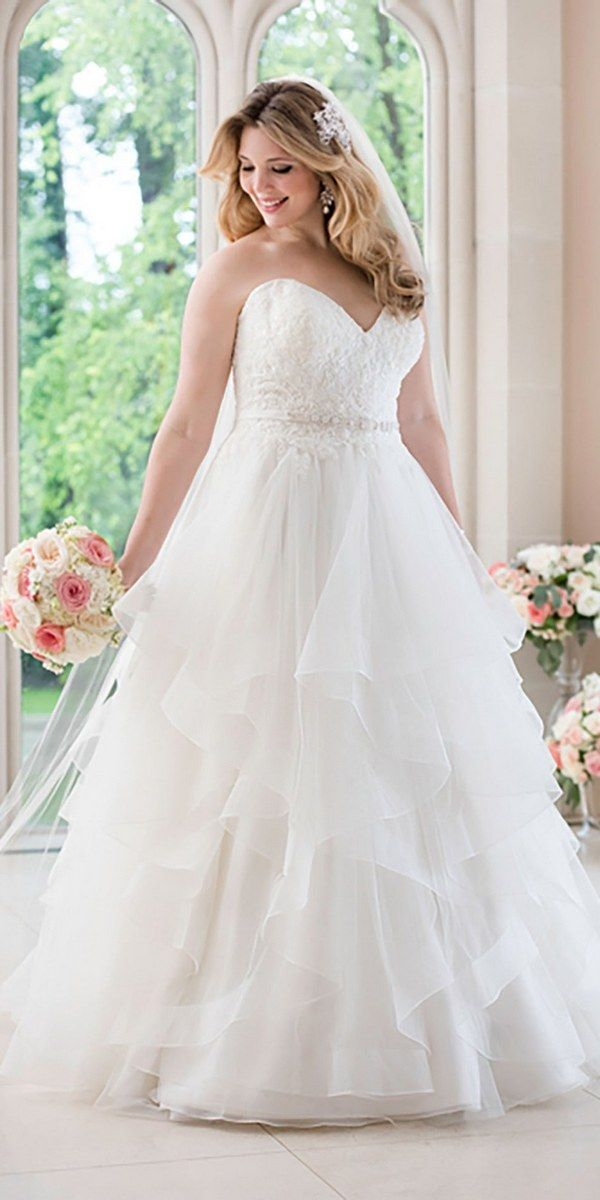 Stella York A-line Wedding Dress with Lace Bodice style 6330 plus size / http://www.deerpearlflowers.com/stella-york-fall-2016-wedding-dresses/2/