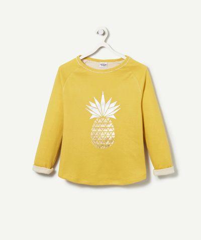 LE T-SHIRT DOUBLE JERSEY :                     Nouveauté ! Ce produit est au même prix du 2 au 14 ansL'ananas est le motif à la mode, vos grils vont l'adorer ! A porter en toutes ocassions ! Le petit plus : sa matière doublée pour un t-shirt plus épais !            LE T-SHIRT, col rond, manches longues, animation ananas brillant, double jersey : la matière est doublée pour un t-shirt plus épais.