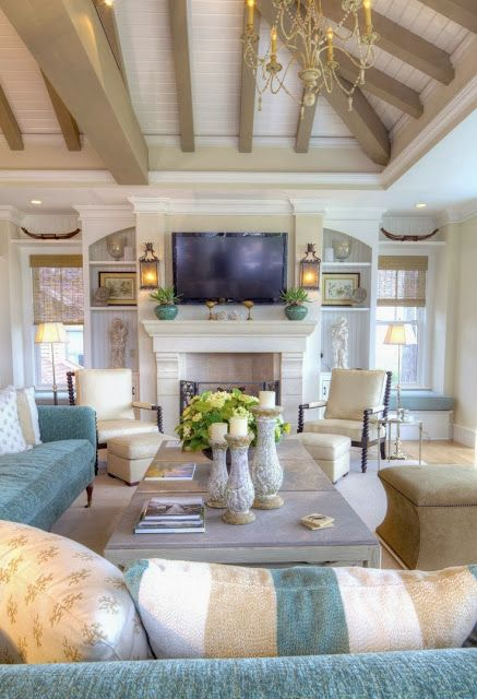 Coastal style great room - ceiling, fireplace #coastalstyle www.HomeChannelTV.com