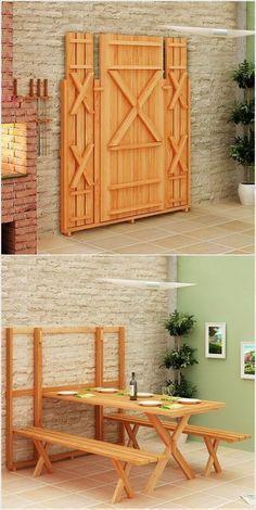 tresubresdobles.com — 13 ideas para ahorrar espacio — Tu blog de humor #terraza #palets #pallets #pallet #patio #terrace
