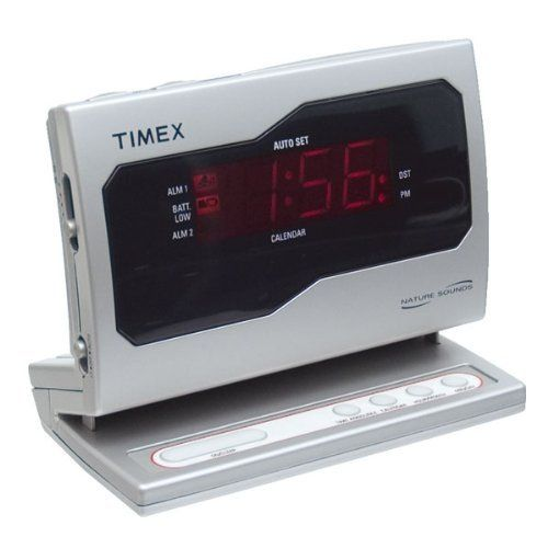 Timex Auto Set Talking English Spanish LED Clock with Dual Alarm by Timex. $23.95. This versatile alarm clock has talking functions and a large LED display that make it a good choice for those whose vision may be diminished, and also features two alarms that can be set and used independently. You can use the dual alarms to wake two people at different times, set one alarm as a back-up to the other in case you shut the first off and go back to sleep, or use one al...