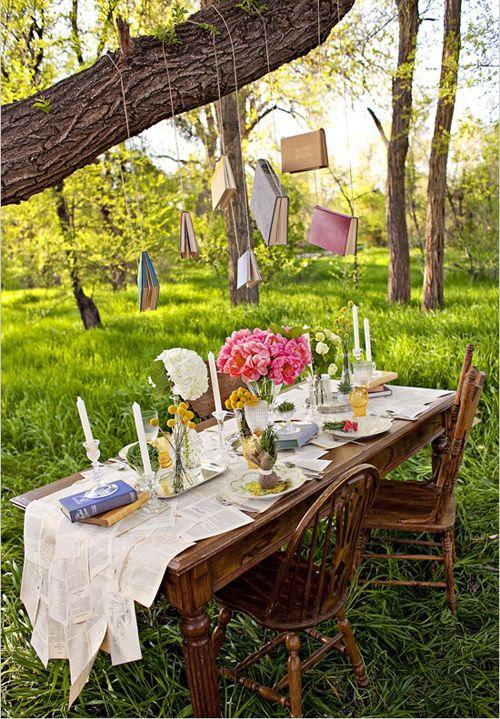 Outdoor garden party ideas for book club.