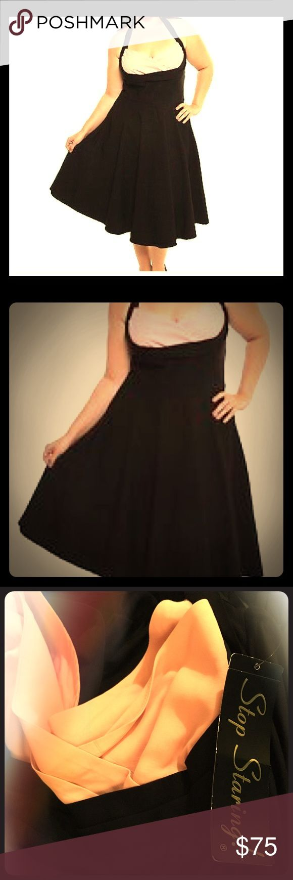 Stop Staring Dress 👗 Pinup dress NWT Brand New!! Never been used! Stop Staring! Black Bombshell Pink Bust Rockabilly Halter Swing Dress. Vintage style. Size 16 stretchy material. True to Size! Stop Staring Dresses
