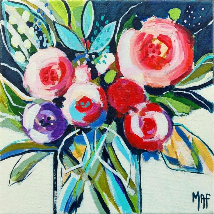 """""""Flowers of May #12"""" by Marisa Añón Frau. Acrylic painting on Canvas, Subject: Still life, Impressionistic style, One of a kind artwork, Signed on the front, This artwork is sold unframed, Size: 25 x 25 x 1.5 cm (unframed), 9.84 x 9.84 x 0.59 in (unframed), Materials: acrylics"""