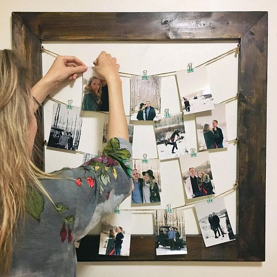 Rustic Clothespin Picture Frame / Photo Display  Wedding