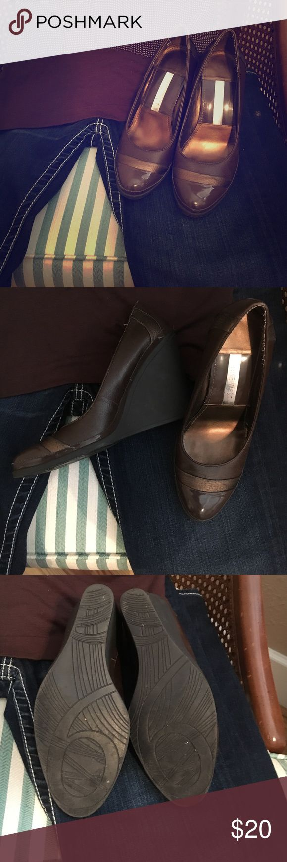 Nine West Leather Wedges Brown Patent Leather/Leather wedge dress shoes. A little worn, but still in good condition. Nine West Shoes Wedges