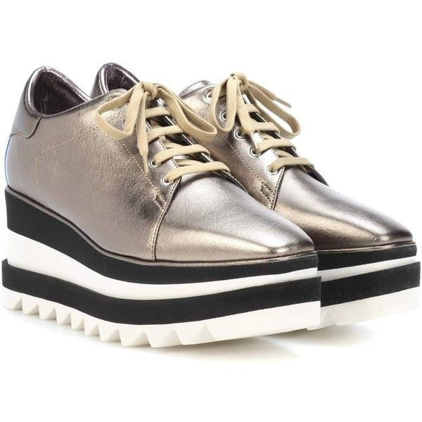 Stella McCartney Sneak Elyse Platform Sneakers ($665) ❤ liked on Polyvore featuring shoes, sneakers, metallic, platform trainers, platform sneakers, stella mccartney sneakers, golden sneakers and golden shoes