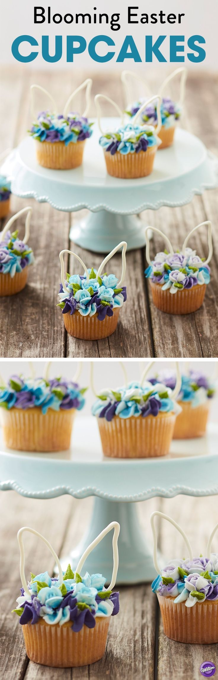 Blooming Easter Cupcakes - Looking for sweet Easter cupcake ideas to make this year? Look no further than these Blooming Easter Cupcakes. Topped with simple piped flowers and candy bunny ears, these Easter cupcakes are a spring floral fantasy! You can add dimension and texture to your piped flowers by striping your decorating bags with colored icing so your roses are literally blooming with color. A spring dessert that is also great for baby showers, wedding showers or even birthdays!