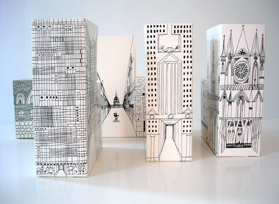 building sketches on boxes