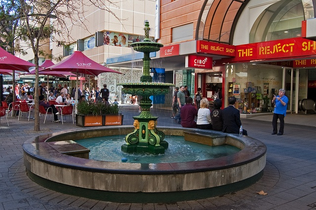 The Rundle Mall Fountain is currently located adjacent to the entrance of Adelaide Arcade, but it has moved several times since it was first cast in the late 1800s.