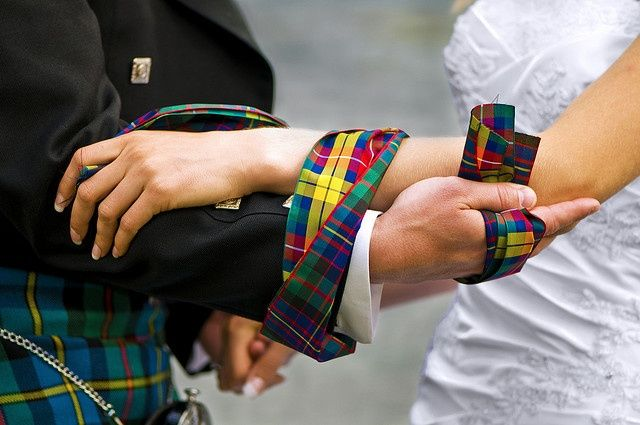 """In Old Scottish customs, handfasting was a way for a couple to marry without a minister present. They would be """"bound together"""" until the minister could arrive to officially marry them. This was particularly common in more remote areas such as the highlands or islands."""