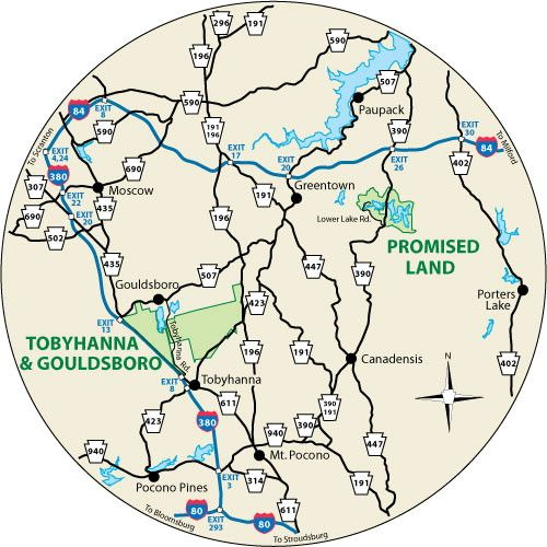 This circular map shows the roads leading to Promised Land State Park, Pennsylvania.