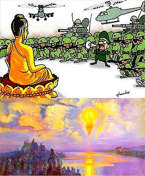 The PEACE-MAKER of the entire WORLD! Pleasant is the arising of a Buddha. Delightful is the teaching of the Dhamma. Gratifying is peace & unity in the Sangha. Pleasing is the harmony of those united. Dhammapada 194  http://What-Buddha-Said.net/drops/II/Peace.htm http://What-Buddha-Said.net/drops/Reaching_Peace.htm http://What-Buddha-Said.net/drops/IV/Peace_Contemplation.htm