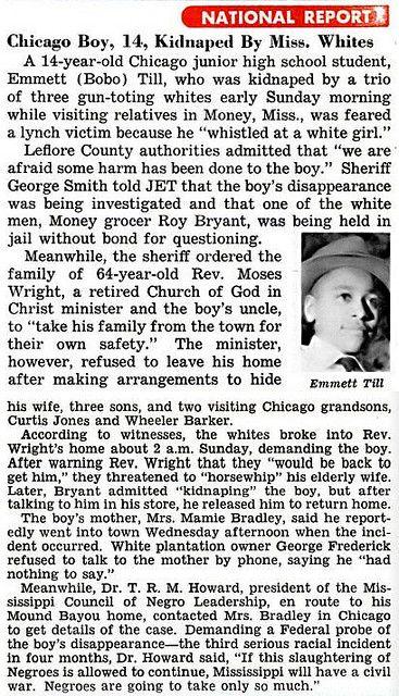 56 Years Ago Today (Emmett Died 08/28/55)- Emmett Till Case - First News Mention of Emmett Till Kidnapping by Mississippi Whites pt 1 - Jet ...