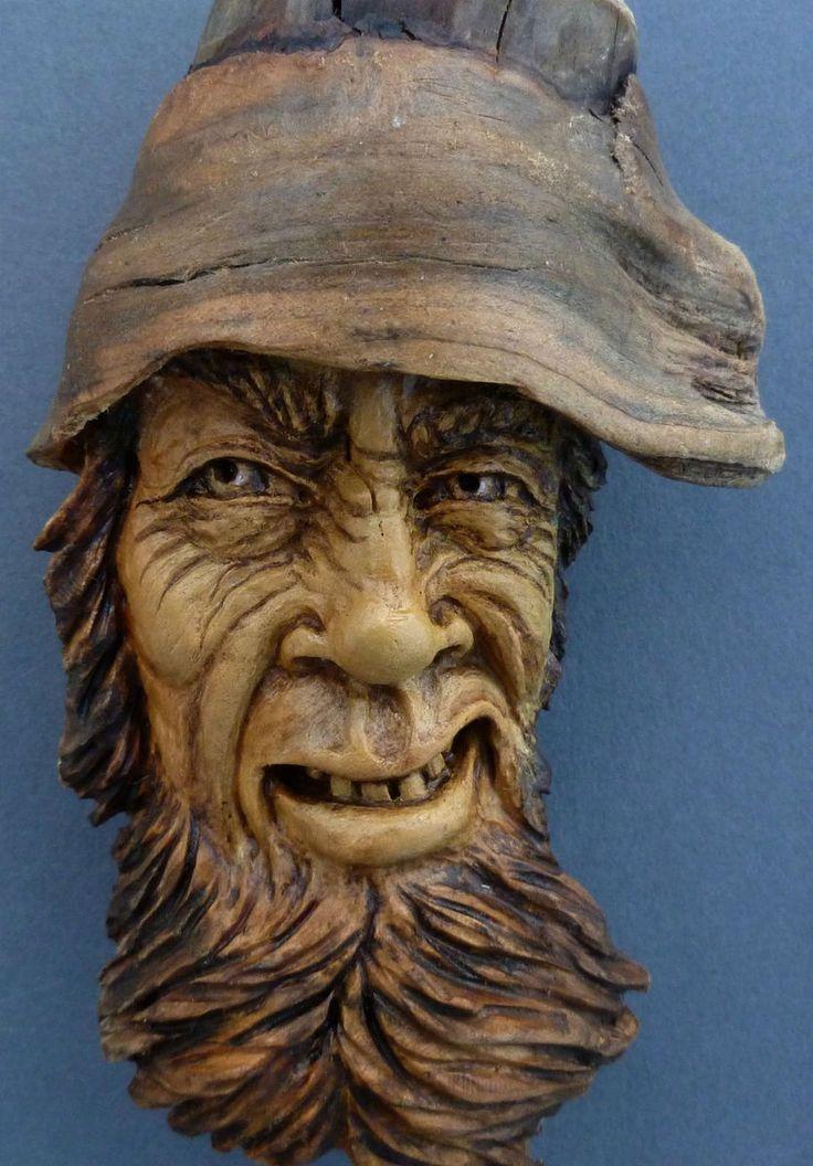 Original Wood Spirit Carving Driftwood Tree Troll Rustic