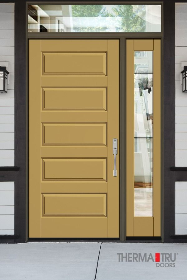Classic Craft Canvas Collection 5 Panel Style No Ccv050 In Escapadegold Sw6403 Classic Fiberglass Exterior Doors Fiberglass Entry Doors Exterior Doors