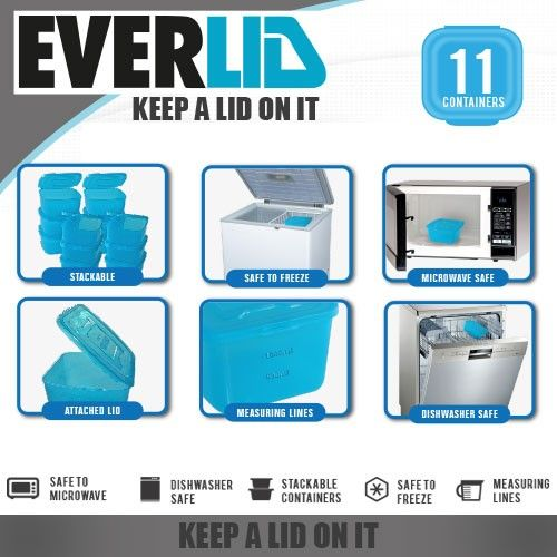 Everlid 11 Piece Container Set includes 2 x lunch boxes 3 x 600ml containers, 3 x 1200ml containers, and 3 x 300ml containers. Stackable | Microwavable | Freezer safe | BPA-free BUY NOW @ http://www.homemark.co.za/product/everlid-11-piece-set?utm_source=Homemark_Pinterest&utm_medium=social&utm_content=buy_now&utm_campaign=Everlid_Pinterest