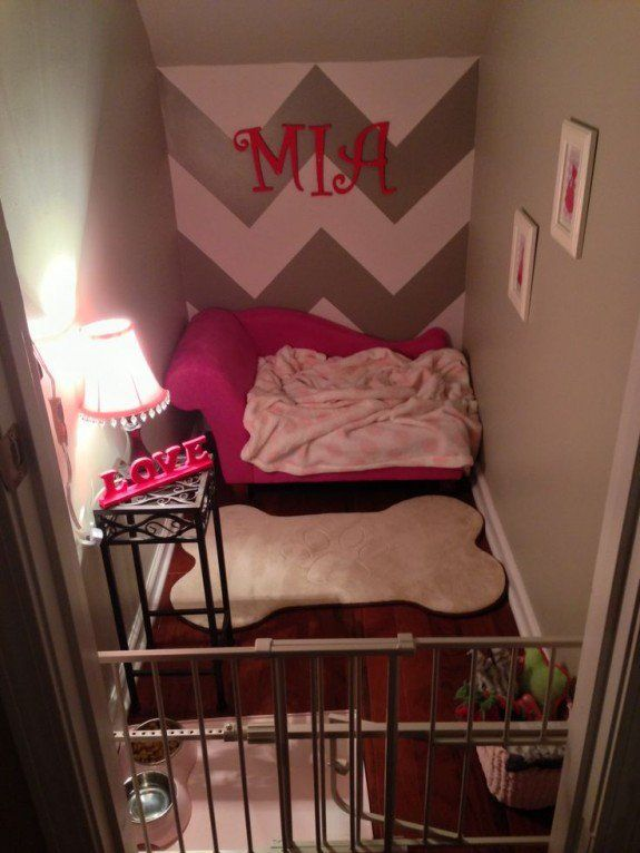 Love idea of dog having its own room in an under stairs closet space.