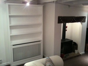 Painted Hardwood Radiator Cover and Bookcase