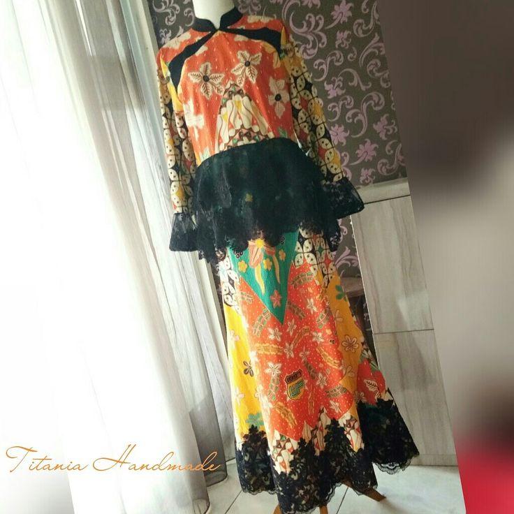 Batik dress kombinasi brukat