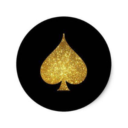 Gold Glitter Spade Symbol Sticker - gold glitter style stylish unique