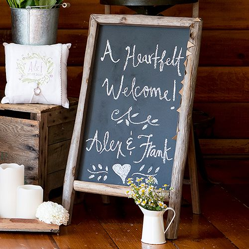 Self Standing Chalkboard Sign with Rustic Wood Frame #chalkboard