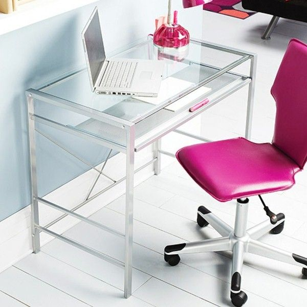 chic desk with glass top