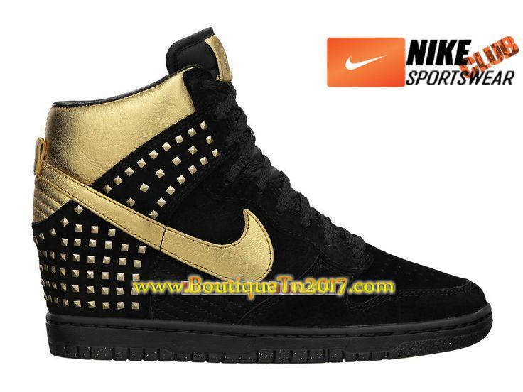 Nike Wmns Dunk Sky Hi Studs QS Chaussures Nike Basket Pas Cher Pour Femme Noir/Or 615873-001