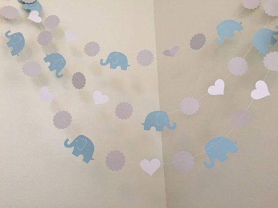 Azul y gris elefante bebé ducha decoraciones por ClassicBanners