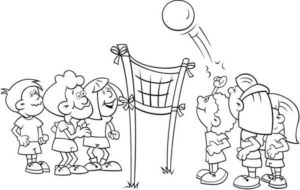 Kids Playing Volleyball Coloring Page Kids Playing Coloring Pages