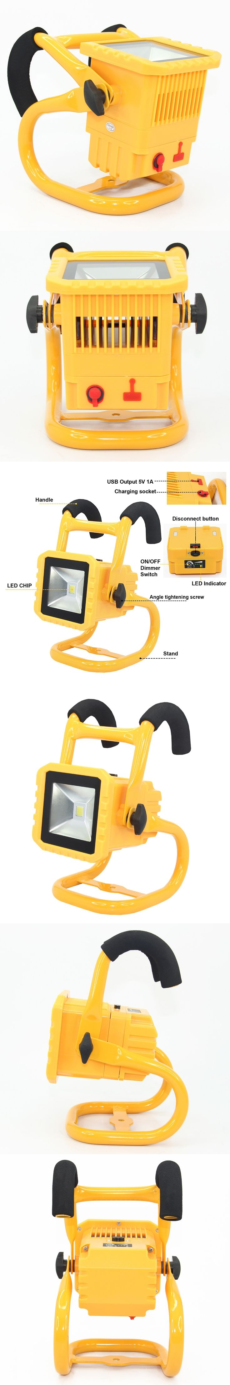 IP65 waterproof Led detachable rechargeable flood light spotlight Led outdoor lighting led flood light with replaceable battery
