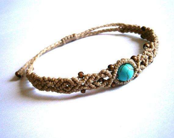 Macrame bracelet/Turquoise bead bracelet/Macrame jewelry/Bohemian jewelry/Beaded bracelet