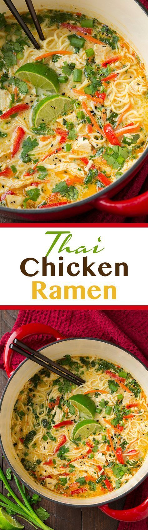 Thai Chicken Ramen - this soup features many layers of flavors, including onion, garlic and ginger making it rich and robust. Easy to make and seriously so good! Definitely add the peanuts.