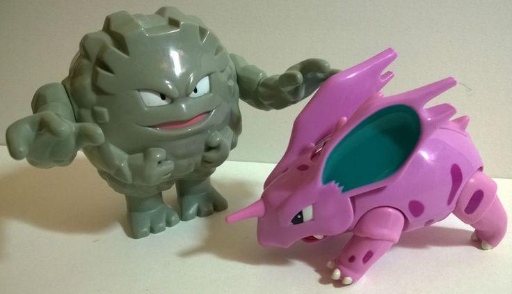 Graveler & Nidorino Pokemon hard plastic moving Nintendo Hasbro 2000 action figures. Sold on eBay £28 and sent to Peru