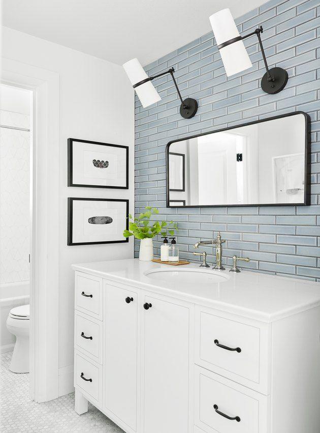 Updating A Vanity With A Custom Tile Backsplash Vanity Backsplash Custom Tile Backsplash Updating Bathroom Vanity