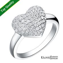 Hot Sale women's Luxury Jewelry Rock Style Women 925 Sterling Silver White Gold Plated Engagement Heart Ring Zirconia Ulove J070