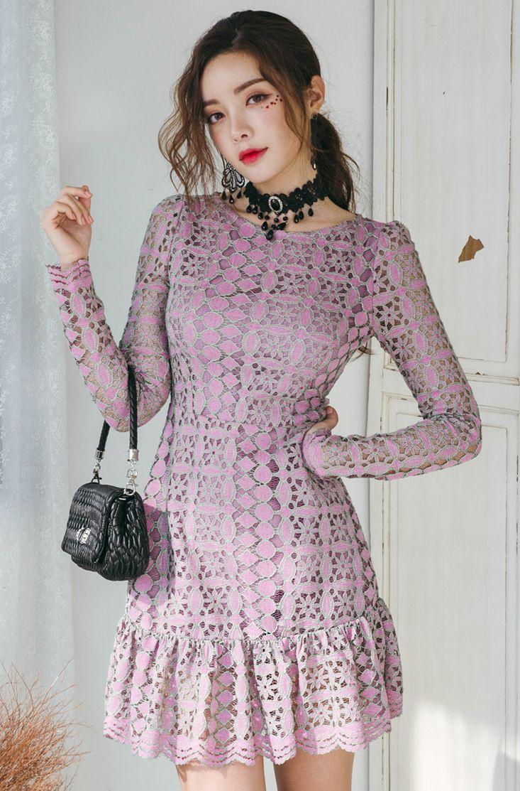 Peplum Hem Lace Dress CHLO.D.MANON   #purple #lace #feminine #koreanfashion #kstyle #kfashion #dress #seoul #springtrend