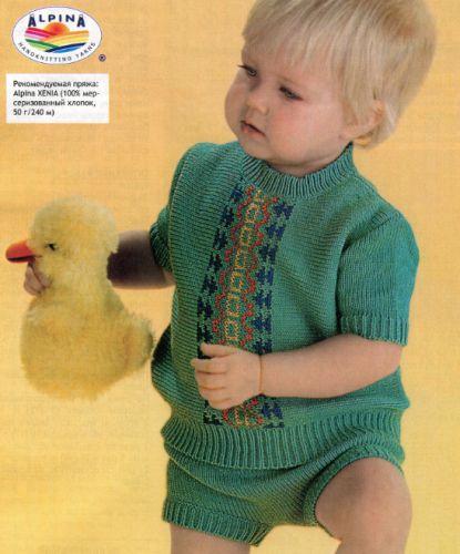 Летний костюм для мальчика, вязаный спицами