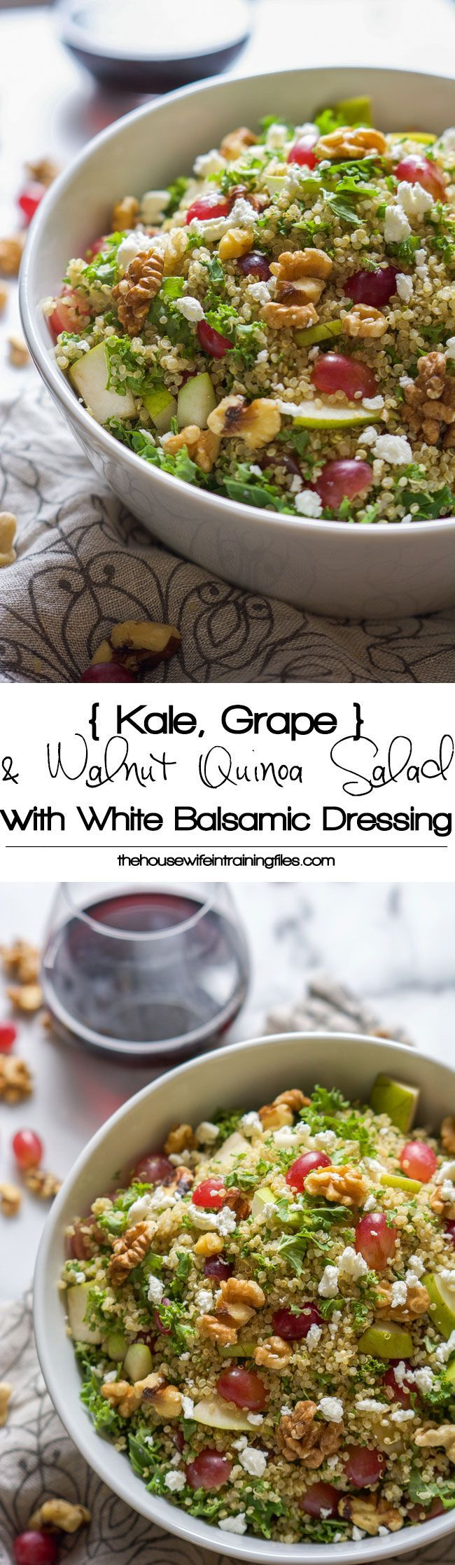 Walnut, Grape & Kale Quinoa Salad with White Balsamic Dressing is a salad that is perfect to make ahead and is filled with sweet, savory, nutty grains and greens to keep you healthy and full!: