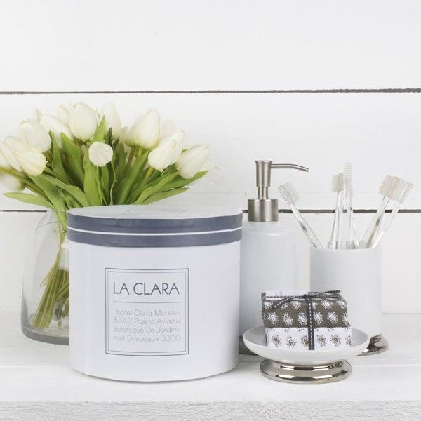 La Clara Bathroom Gift Set - In the style of classic hotel bath accessories, our white porcelain collection is a refined way to display lotions, tissues and other essentials. With a polished silver detail
