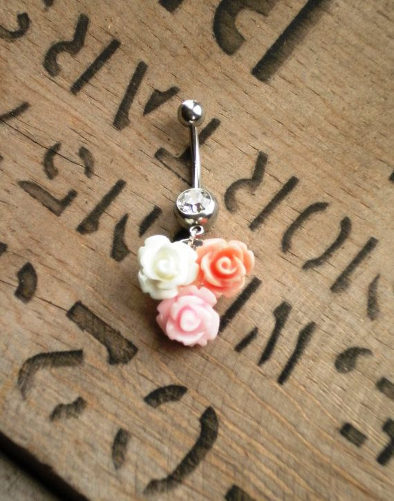 Three Flower Pink Rose Belly Button Ring by JewelrybyTheresa, $15.50