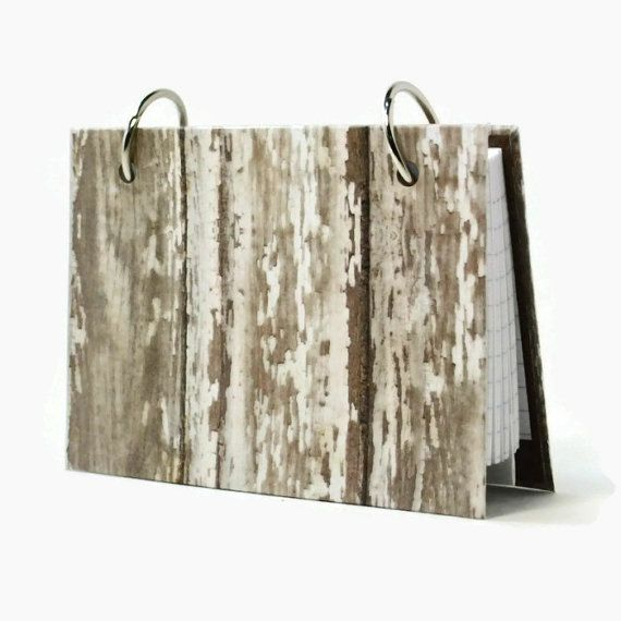 3 x 5 index card binder, white weathered barn wood, recipe holder, daily memory journal, index card holder with a set of index card dividers