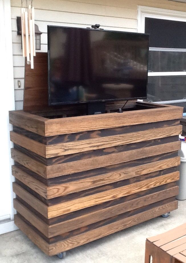 Outdoor TV. Homemade Custom TV Cabinet With Remote TV Lift.