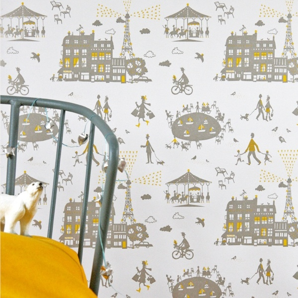Un Dimanche A Paris Wallpaper (YELLOW/SILVER) by Famille Summerbelle