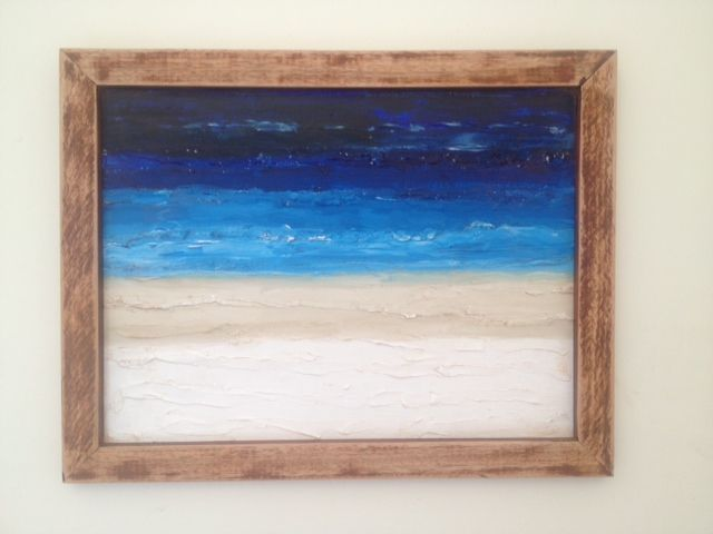 A skirting board was shaped to make a picture frame using the dropsaw. I then painted a simple oceanscape with acrylics on canvas. A light sand of the frame gave it the beachy look I wanted.