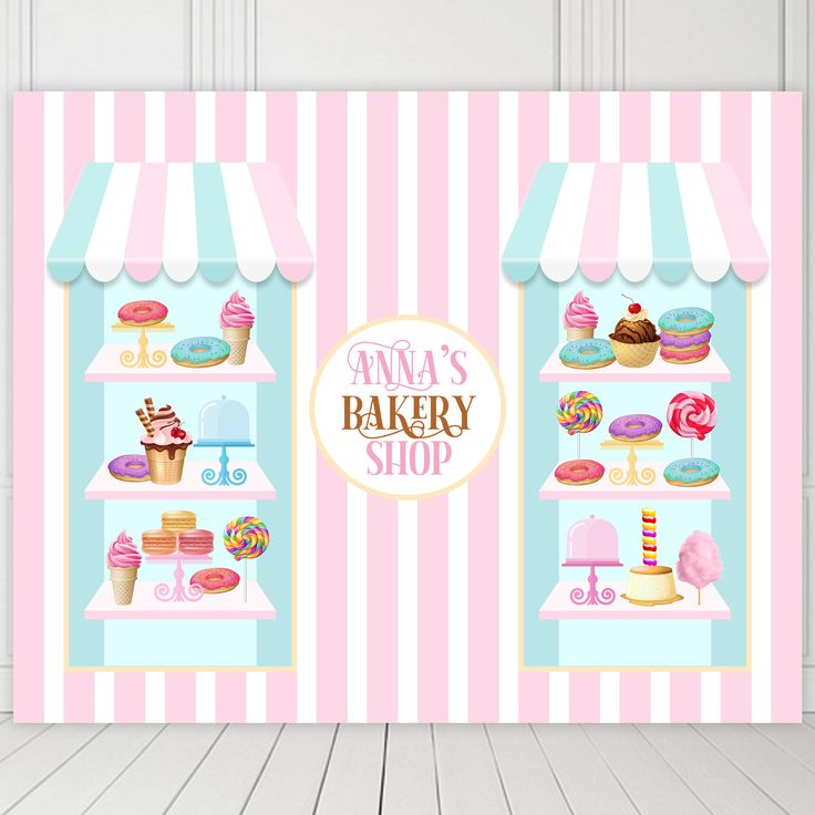 Leyiyi Sweet Dessert Backdrop 8x8ft Photography Backdrop Ice-Cream Delicious Cake Sweet Candy Pink Banner Sweet Dessert Children Birthday Party Backdrop Photo Booth Props
