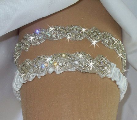 Garter, Wedding Garter Set, Bridal Garter Belts, Bridal Accessories,Rhinestone Garter, White Crystal Garter, Ivory Garter, Something Blue